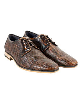Italian Couture Men's Tan Brown Patterned Leather Lace-up Shoes picture