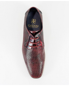 Italian Couture Men's Wine Patterned Leather Lace up Shoes