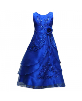 Flower Girls Layered Wedding Bridesmaid Party Dress in Royal Blue Picture