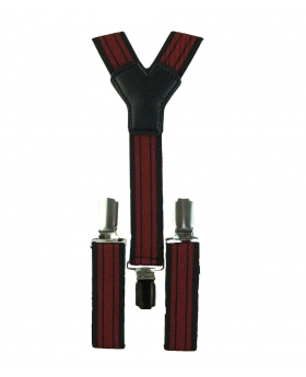 Young Children's adjustable elastic Y-Back Striped Braces with Bow Tie Set in Red and Black