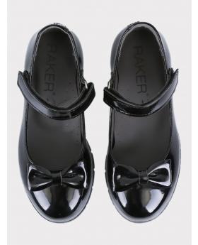Girls Communion Patent Ballerina Shoes in Black  pair front  picture