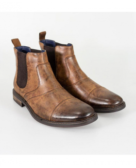 Italian Couture Mens Tan Brown Slip On Leather Chelsea Boots