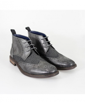 Designer Mens Cavani Curtis Grey Tweed and Leather Mix Chelsea Boots
