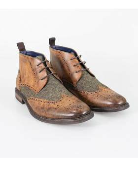 Designer Mens Cavani Curtis Tan Brown Tweed and Leather Mix Chelsea Boots