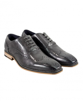 Italian Couture Men's Cavani Grey Perforated Lace up Leather Brogues