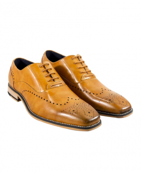 Italian Couture Men's Cavani Tan Perforated Lace up Leather Brogues
