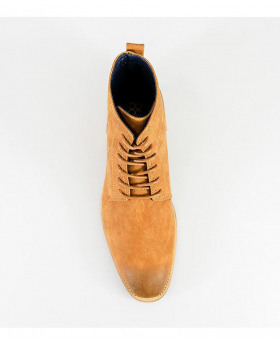 Designer Mens Cavani Hurricane Tan Brown High Ankle Lace Up Leather Boots