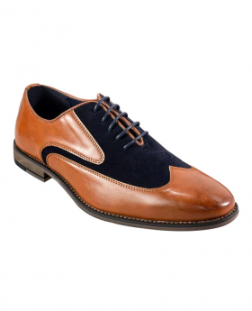 Italian Couture Men's Tan and Navy Suede Leather Lace Up Oxford Shoes