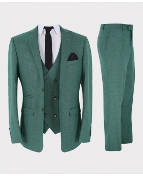 Herren Business Anzug 3 teiliges Tailored Fit Set in Grün Ansicht als komplette Set