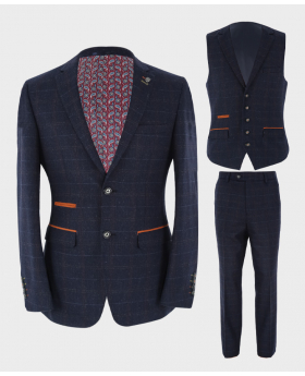 Herren Blazer Weste & Hose mit Karomuster Tailored Fit in Marineblau Ansicht als Set