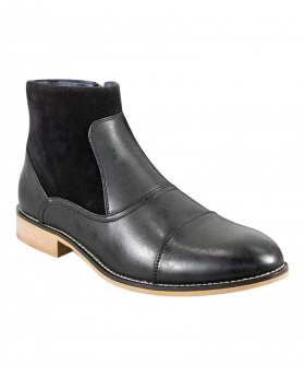 Men's Black Suede and Leather Mix Chelsea Boots