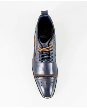 Men's Cavani Navy Blue High Ankle Lace Up Suede Leather Brogue Boots