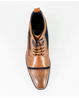 Men's Tan Brown and Navy Blue Mix High Ankle Lace Up Suede Leather Brogue Boots
