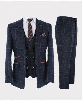 Herren Anzug mit Karomuster 3 teiliges Tailored Fit Set in Marineblau Ansicht als Set