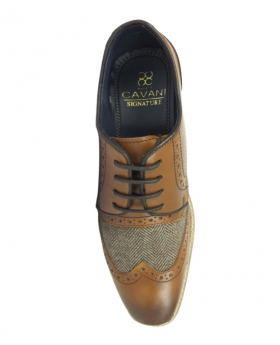 Men's Signature Lace up Tan Brown Tweed Leather Brogues Oxfords - Top Down
