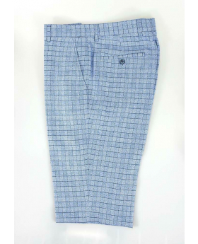 Men's Madison Blue Slim Fit Check Formal Trousers