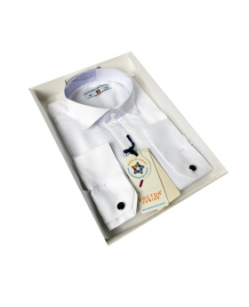 Boys Wing Collar Pleated Cufflink Shirt in White side picture