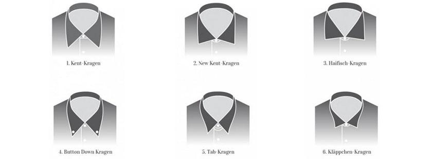 Herren Kragenformen von Hemden